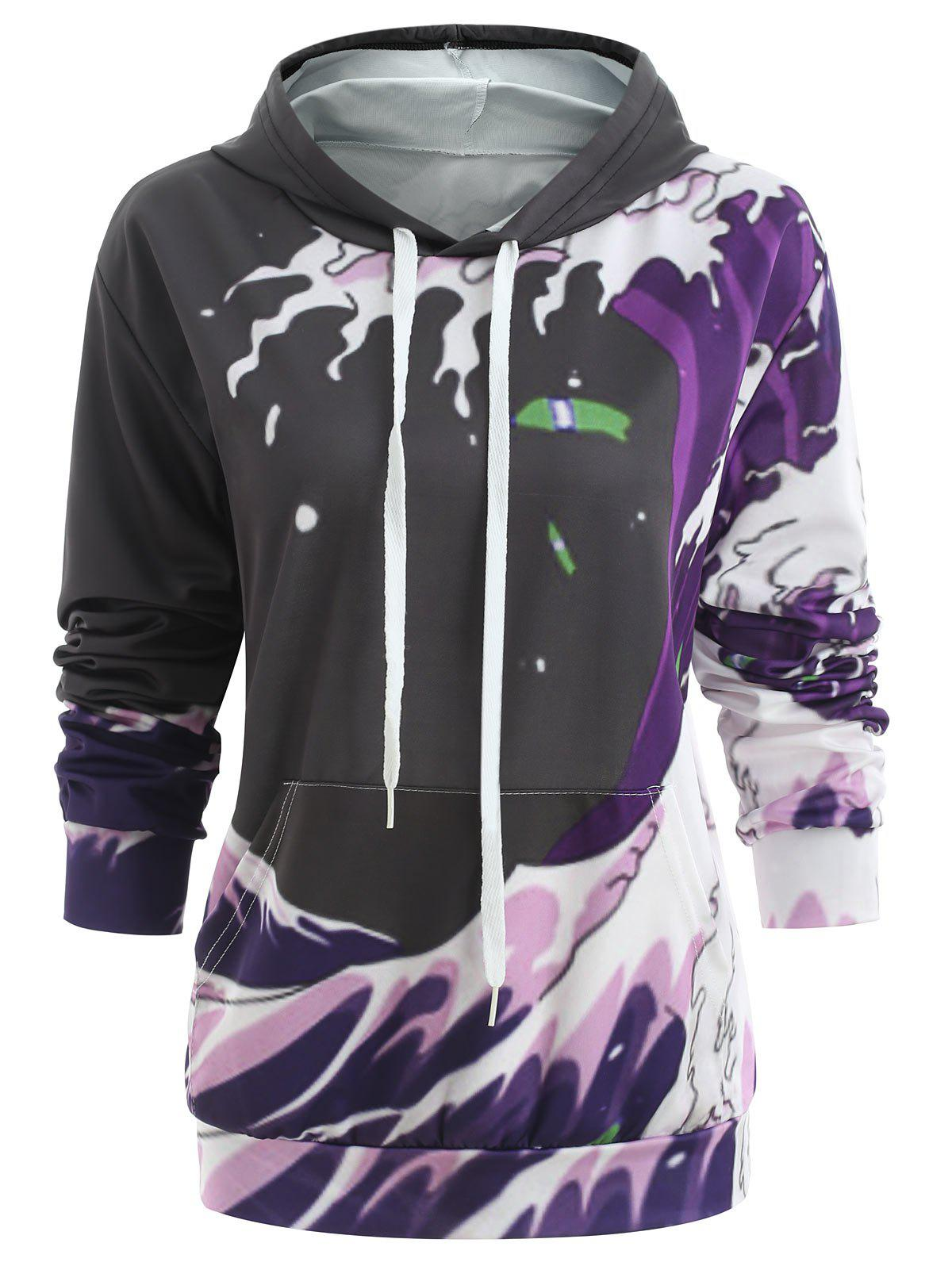 Unique Drawstring Printed Tunic Pullover Hoodie