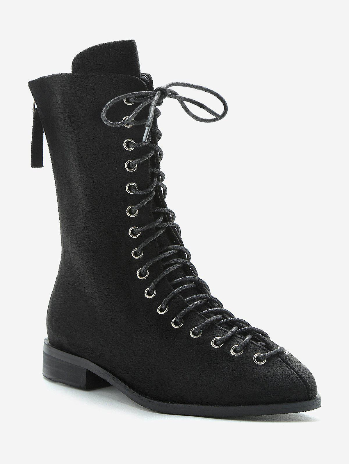Affordable Lace Up Low Heel Mid Calf Boots