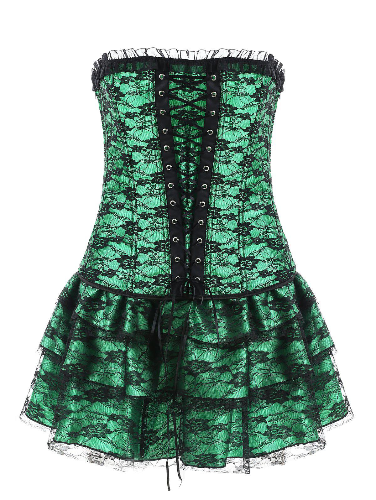 Online Lace-up Corset Top with Lace Skirt