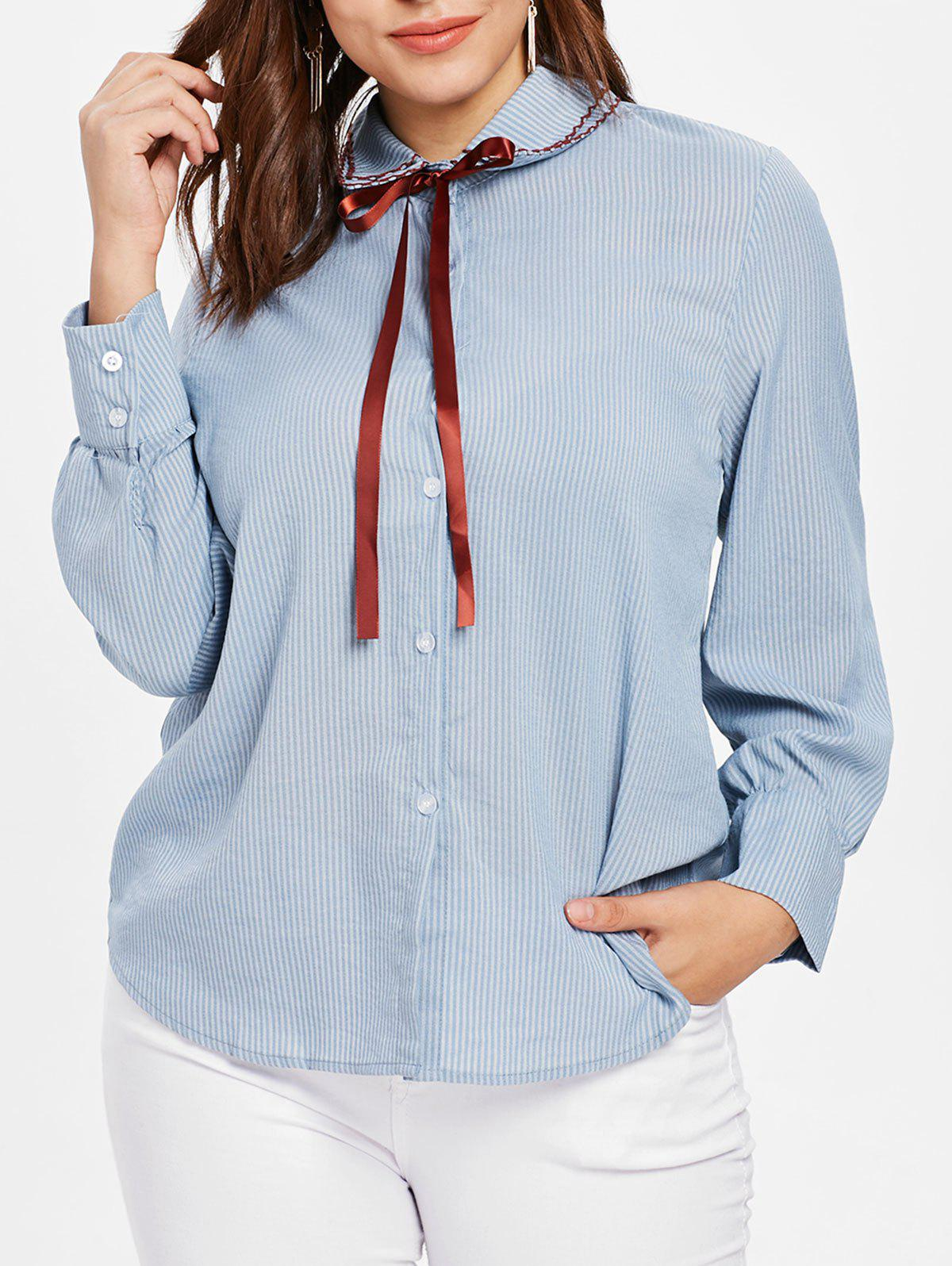 Unique Plus Size Bow Tie Striped Blouse