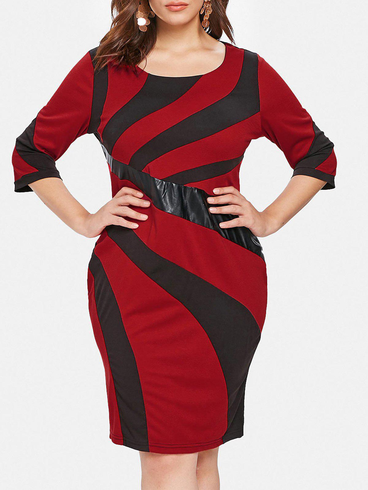 Buy Plus Size Patchwork Detail Bodycon Dress