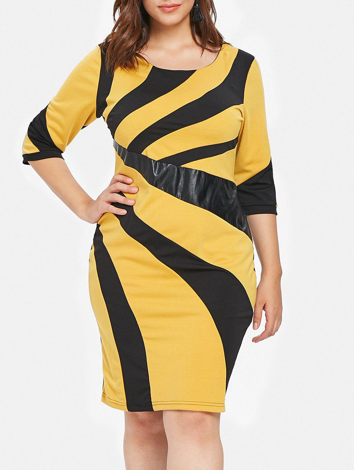 Store Plus Size Patchwork Detail Bodycon Dress