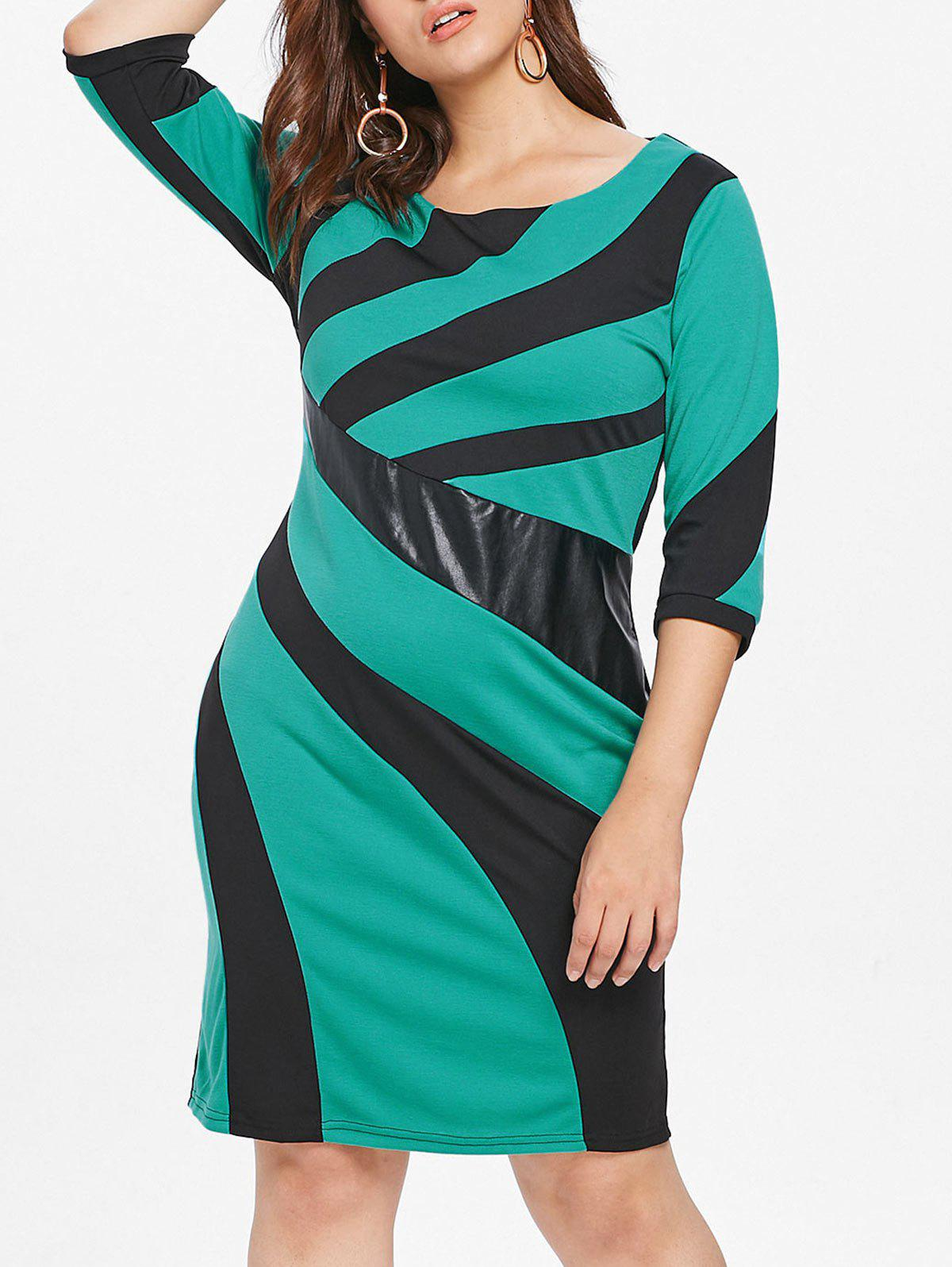 Latest Plus Size Patchwork Detail Bodycon Dress