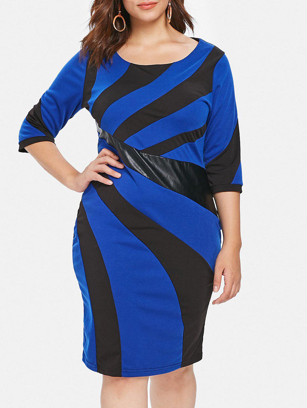 New Plus Size Patchwork Detail Bodycon Dress