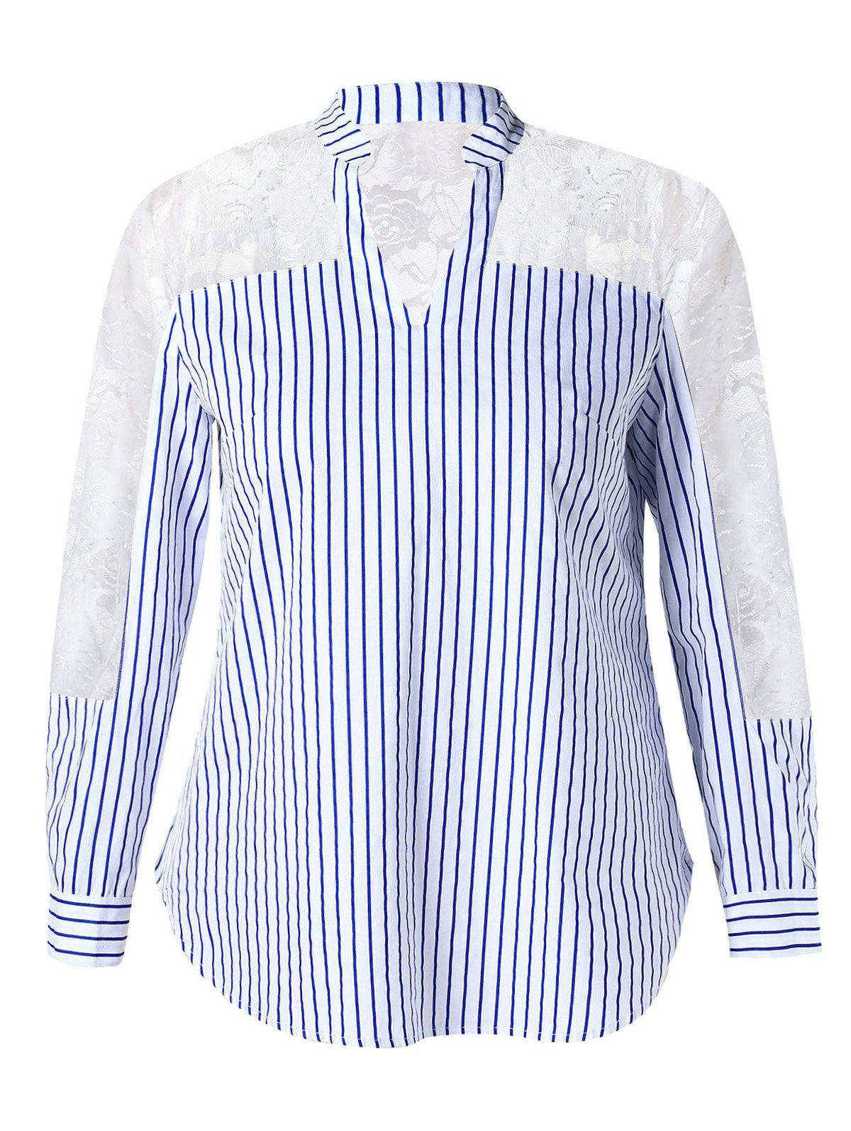 Store Sheer Lace Inset Striped Plus Size Shirt