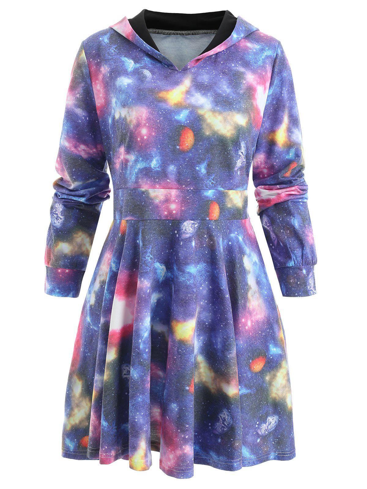 Hot Starry Sky Hooded Skater Dress