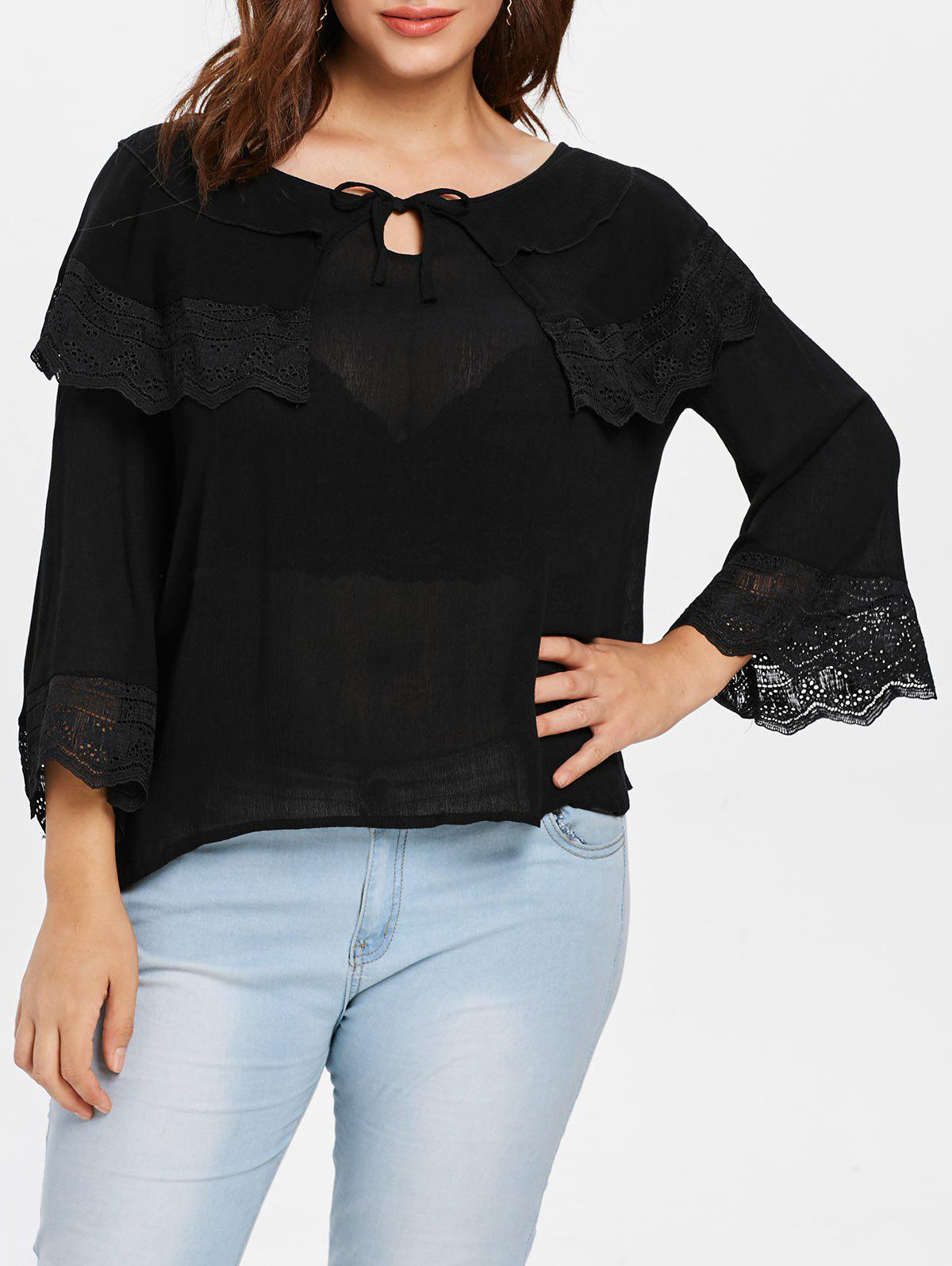 Affordable Lace Panel Plus Size Eyelet Blouse