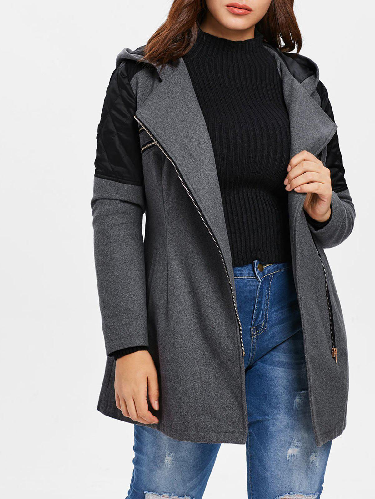 New Plus Size Contrast Zippered Woollen Coat