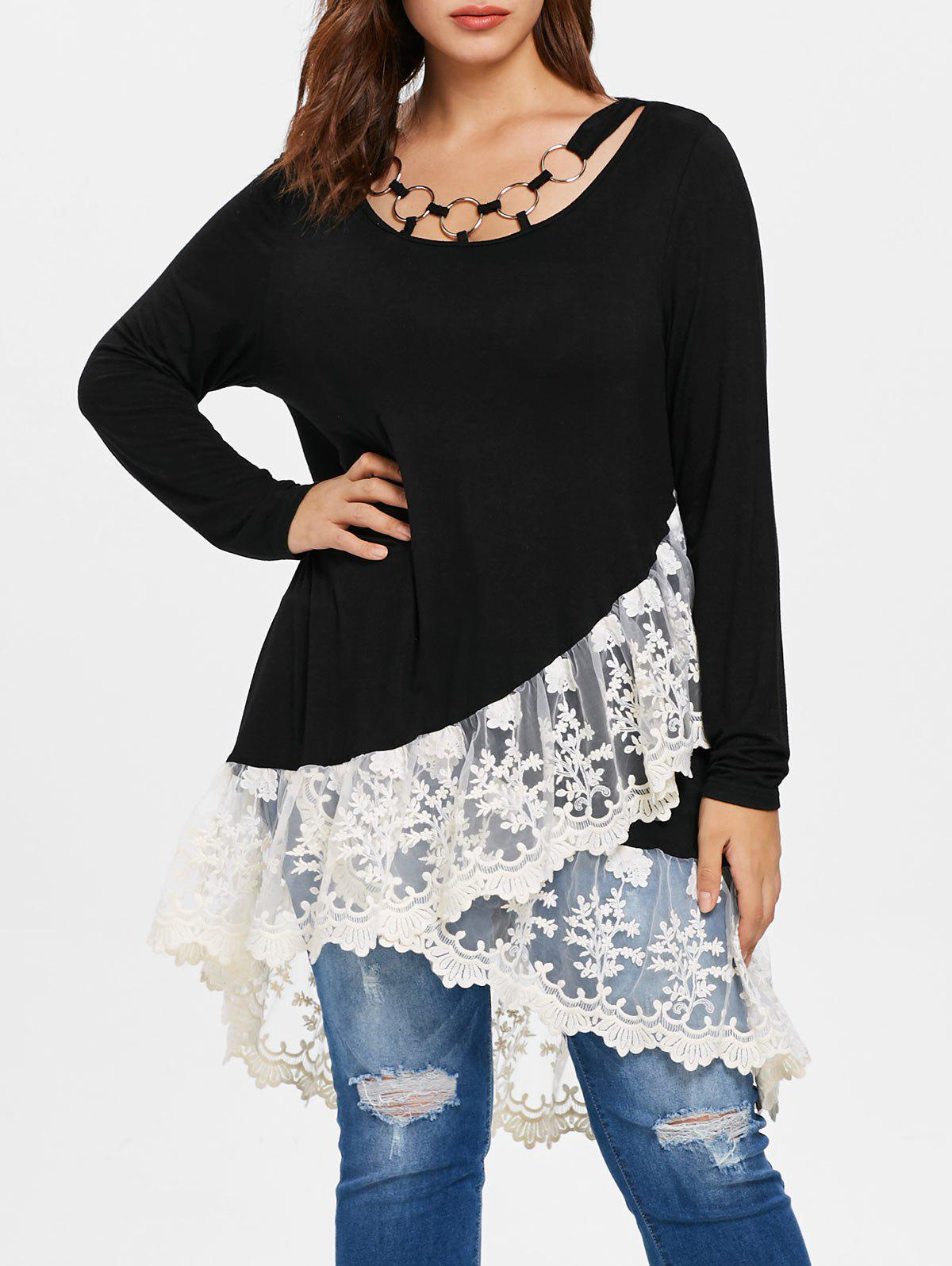 Trendy Plus Size Lace Panel Layered T-shirt
