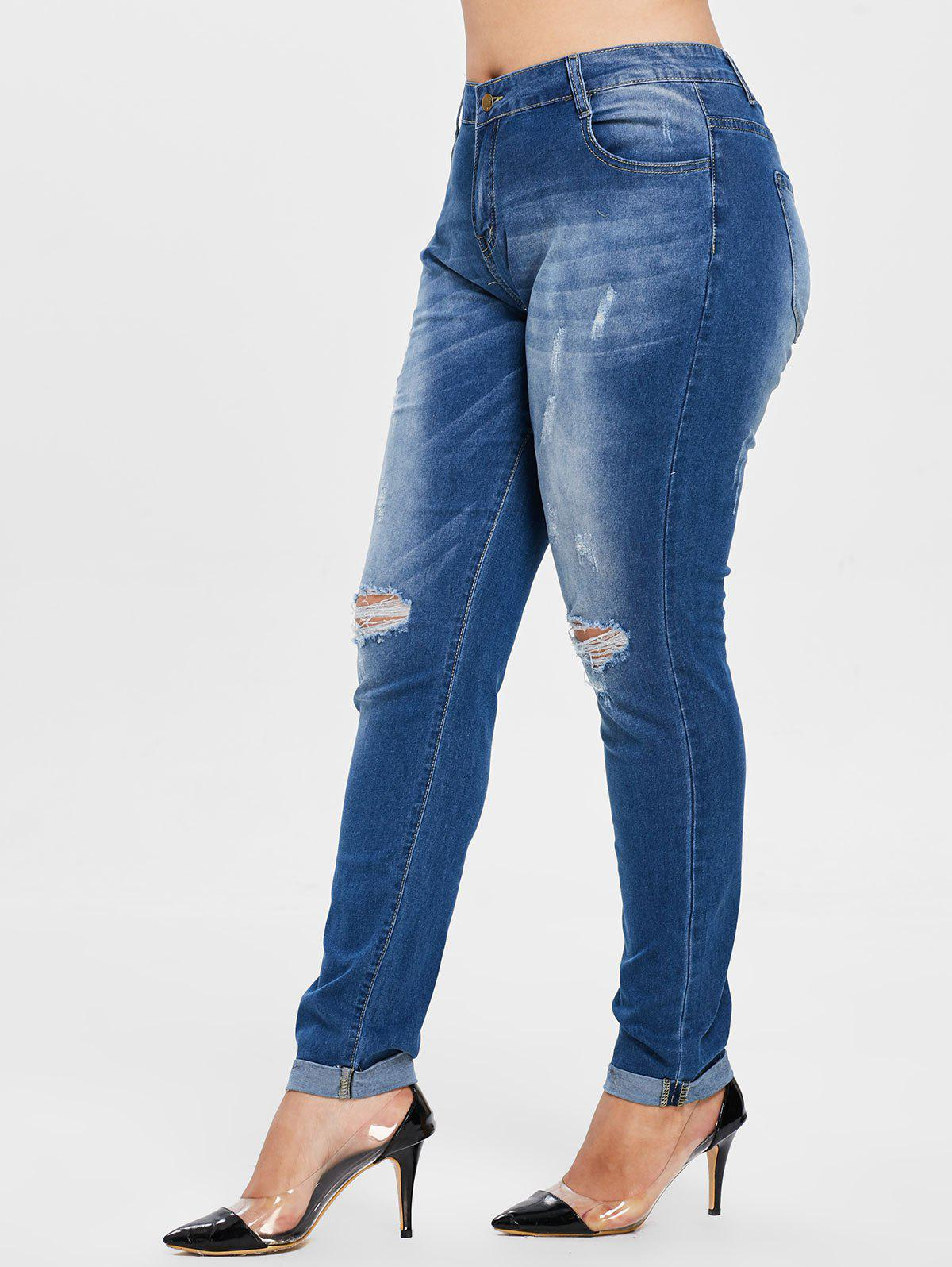 Outfit Ripped Plus Size Cut Out Cuffed Jeans