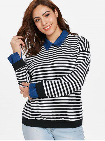 Plus Size Striped Faux Two Piece Sweater