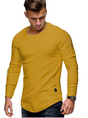 Solid Color Patch Detail Pleated Long Sleeve Tee