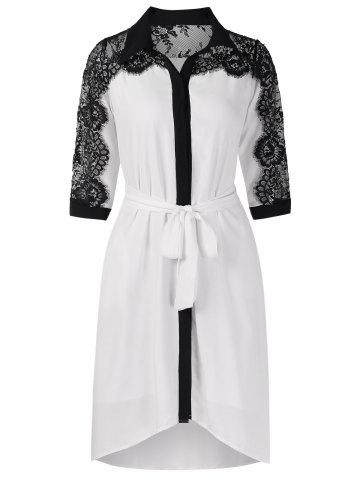 Belted Lace Panel Casual Dress