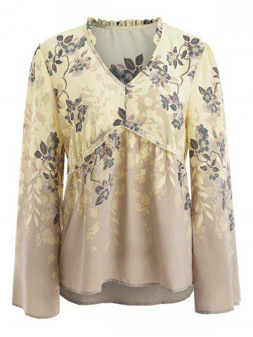 Flare Sleeve Floral Print Blouse
