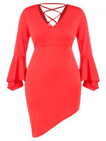Plus Size V Neck Backless Lace Up Flare Sleeves Asymmetric Sheath Dress - LOVE RED - L