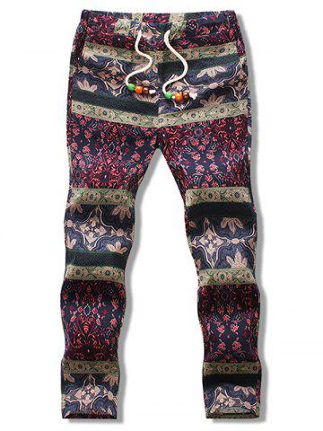 Drawstring Ethnic Print Nine Minutes of Pants