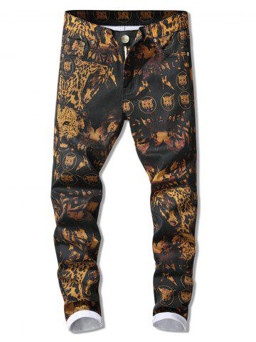 Leopard Printed Zip Fly Elasticity Jeans