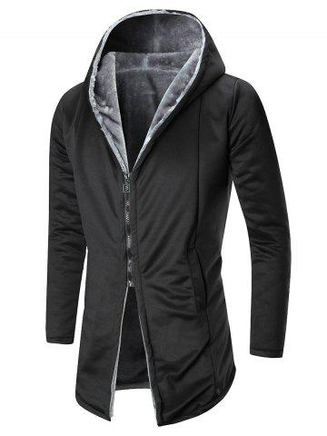 Solid Zip Up Flocking Hooded Coat