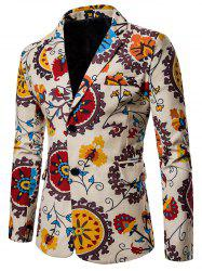 Split Back Bottom Floral Printed Blazer -