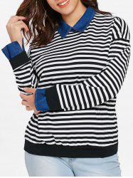 Plus Size Striped Faux Two Piece Sweater -