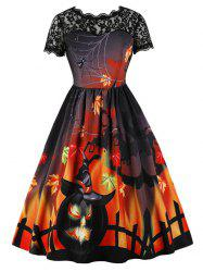 Lace Panel Halloween Printed A Line Dress -