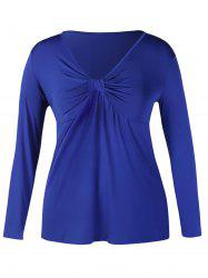 Plus Size Front Twist Long Sleeve Top -