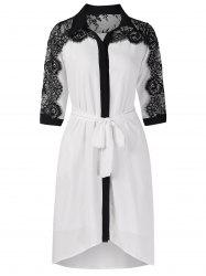 Belted Lace Panel Casual Dress -