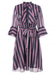 Vertical Stripe Flounce Trim Dress -