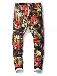 Tiger Pattern Zip Fly Jeans -