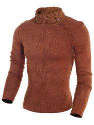 Stand Collar Button Embellished Sweater -