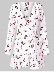 Full Sleeve Cherry Print Wrap Dress -