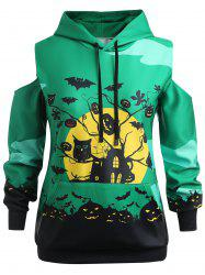 Plus Size Halloween Cold Shoulder Hoodie -