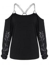 Cold Shoulder Chains Patterned Tee -