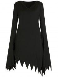 Plus Size Halloween Flare Sleeve Witch Cosplay Dress -