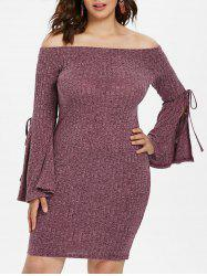 Tied Flare Sleeve Plus Size Bodycon Dress -
