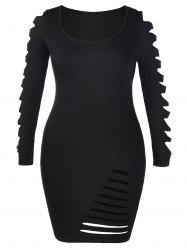 Ladder Cut Out Sleeve Plus Size Ripped Dress -