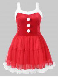 Fluffy Pom Pom Trim Christmas Plus Size Dress -