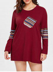 Rainbow Striped Plus Size Pockets Detail T-shirt Dress -