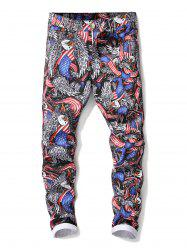 Zip Fly American Flag Eagle Pattern Jeans -