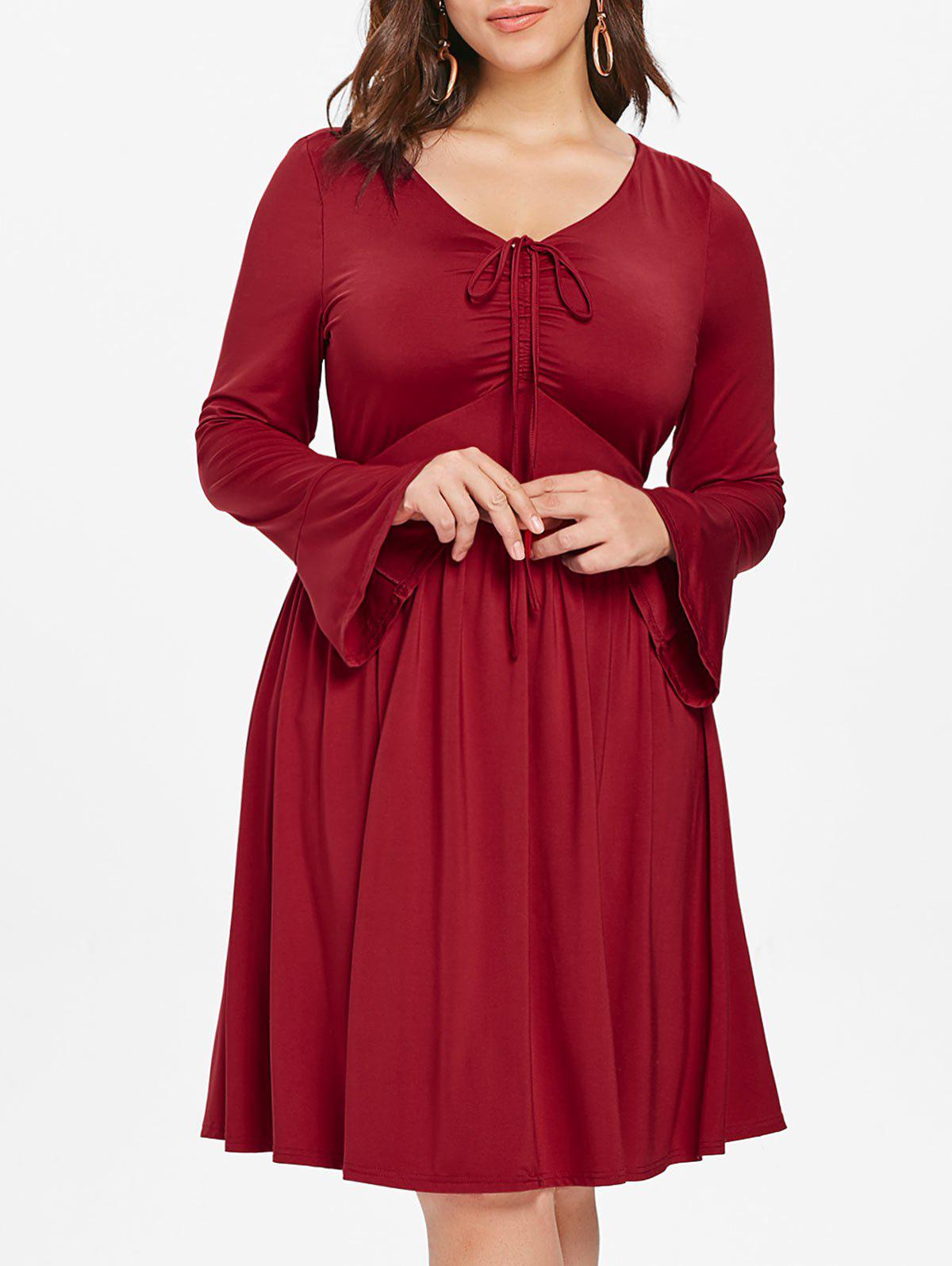 Discount Plus Size V Neck Bell Sleeve Mini Flare Dress