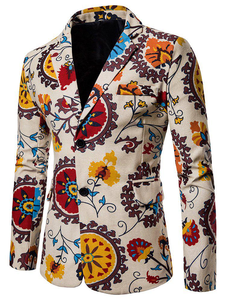 Cheap Split Back Bottom Floral Printed Blazer