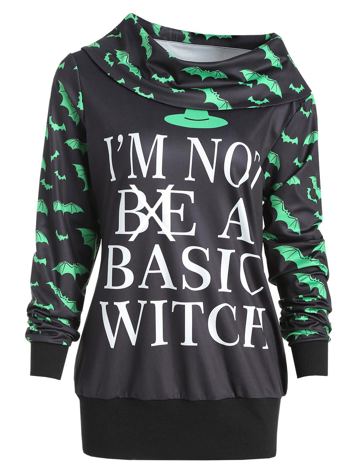 Trendy Halloween Bat Print Letter Sweatshirt