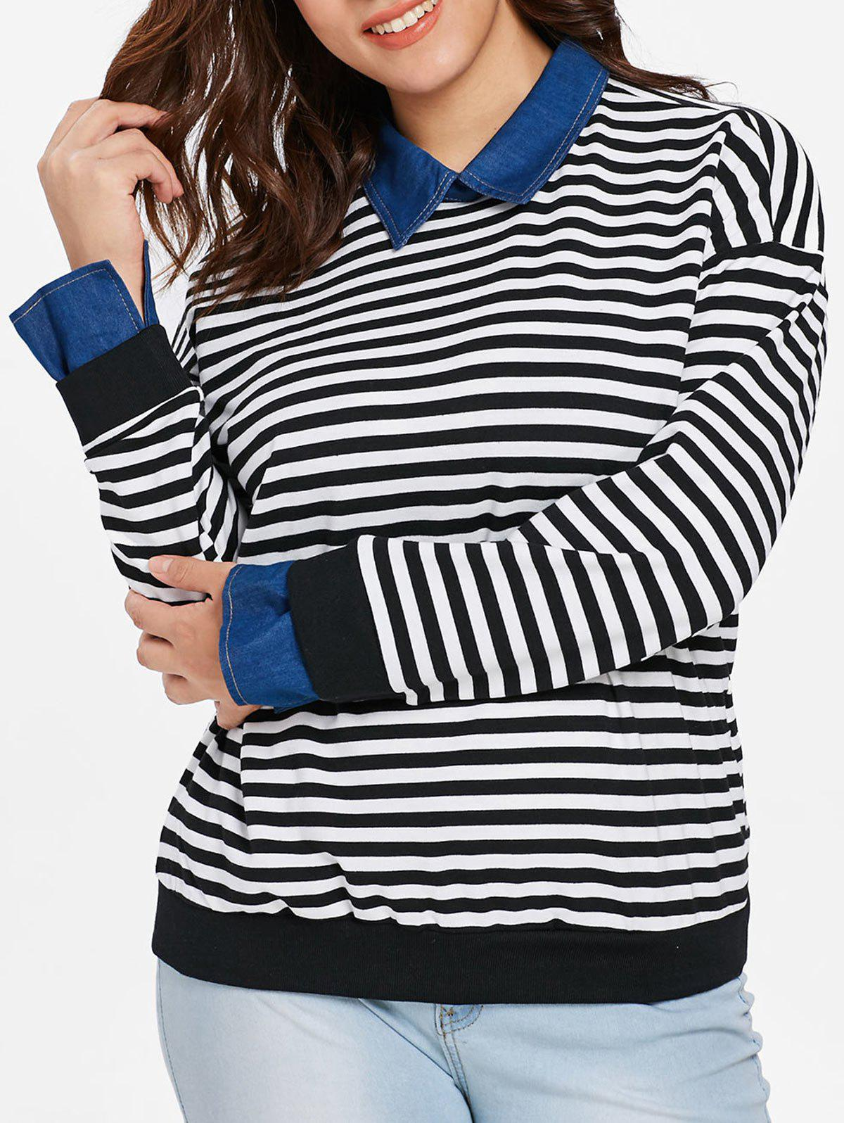 Shop Plus Size Striped Faux Two Piece Sweater