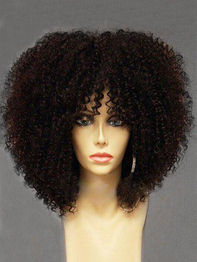 Long Side Bang Shaggy Afro Curly Synthetic Wig