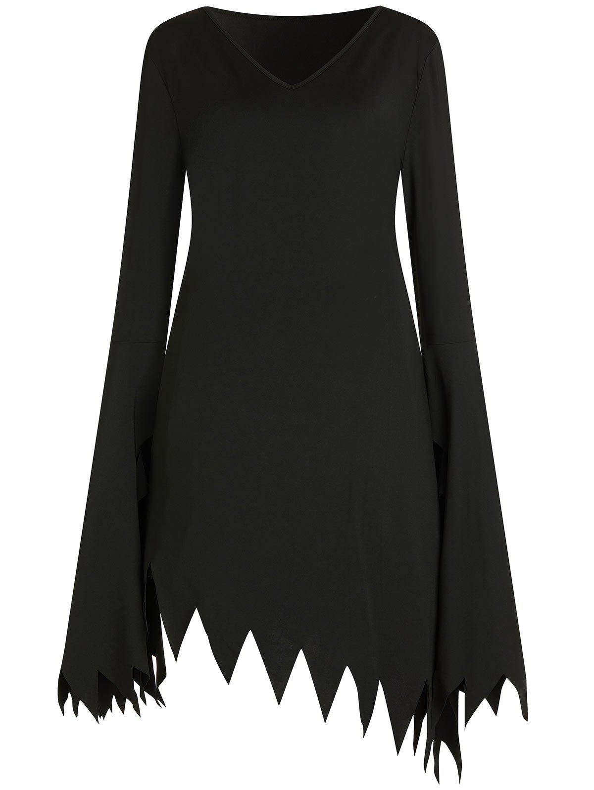 Unique Plus Size Halloween Flare Sleeve Witch Cosplay Dress