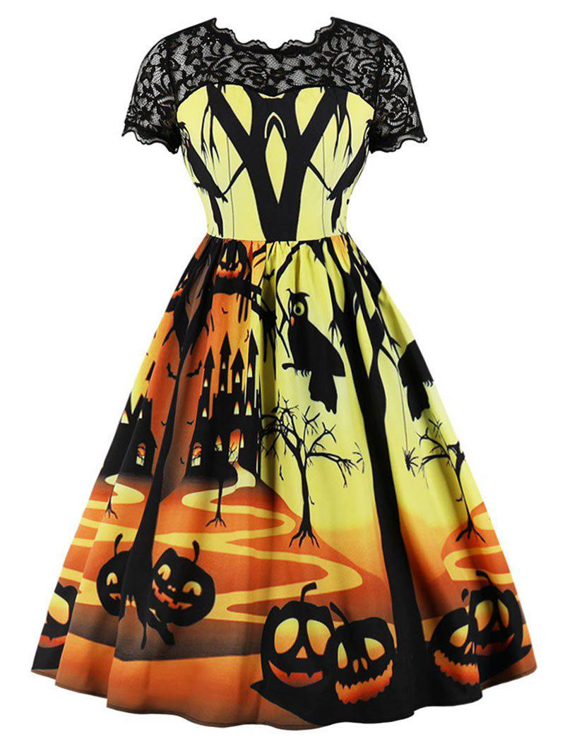 Unique Pumpkin Lantern Halloween Lace Panel Vintage Dress