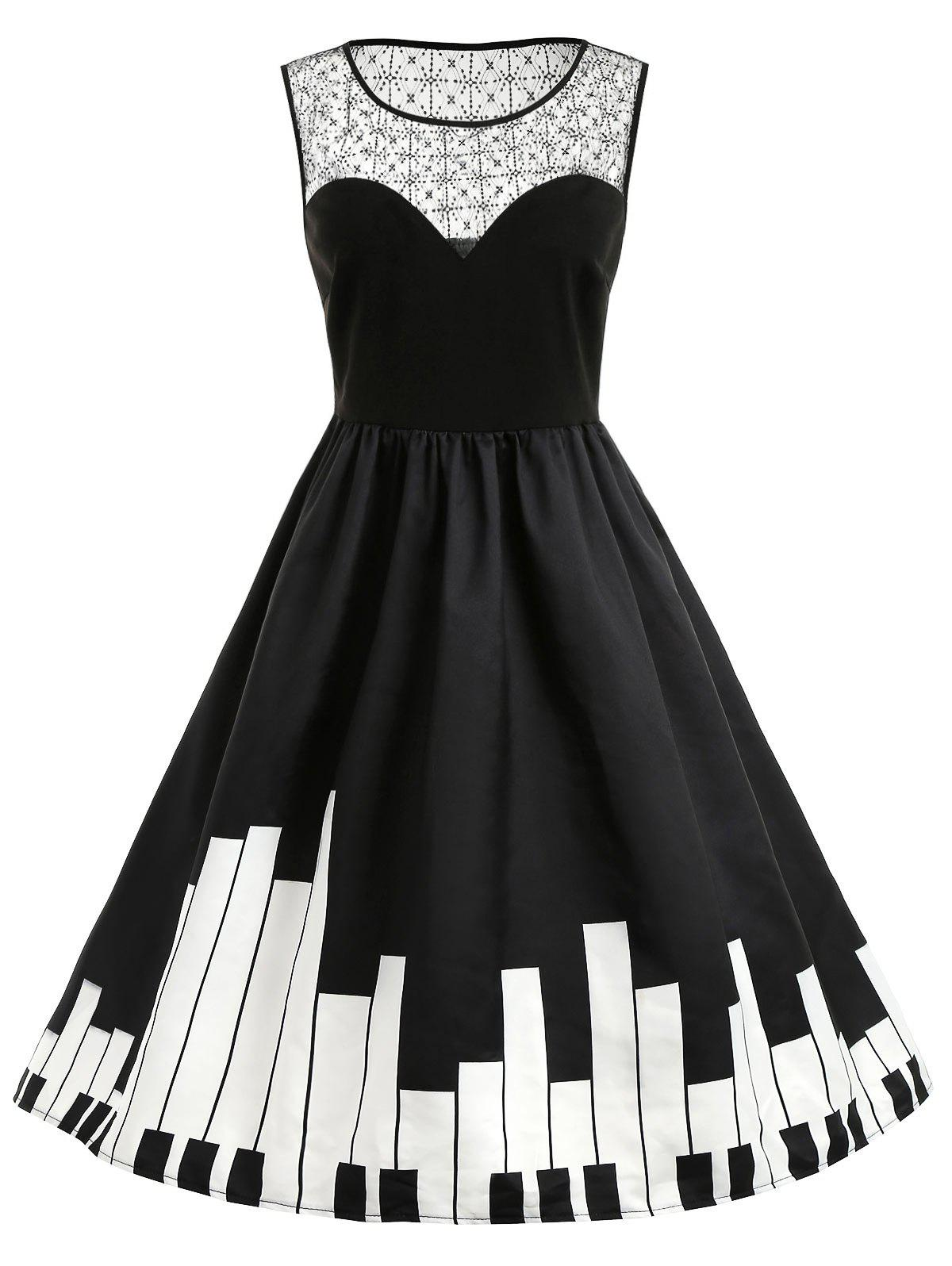 16d31b26cc6d 41% OFF] Plus Size Sleeveless Piano Print Dress | Rosegal