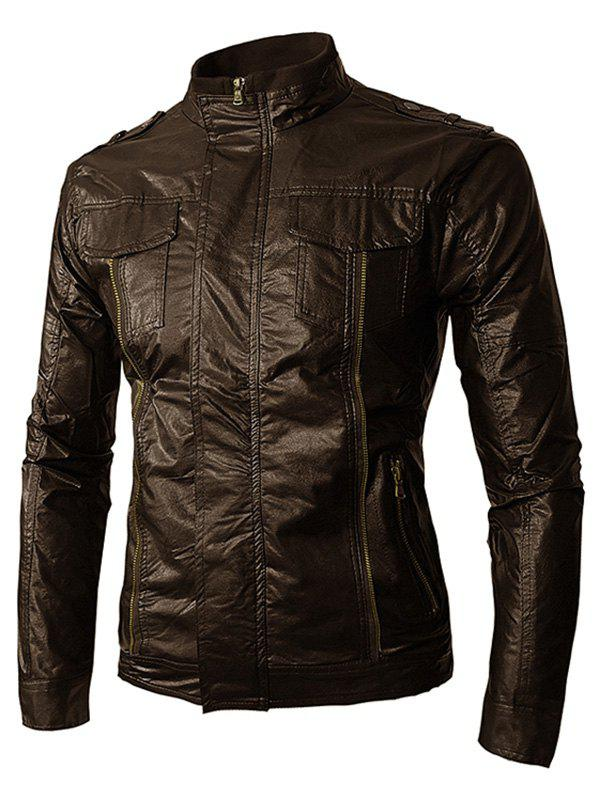 Discount PU Leather Stand Collar Zip Up Jacket