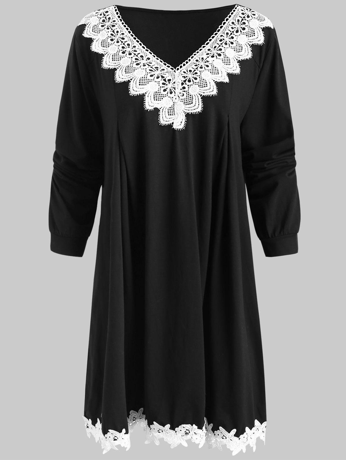 a4760c5d319 56% OFF  Crocheted Trim Long Sleeve Plus Size Dress
