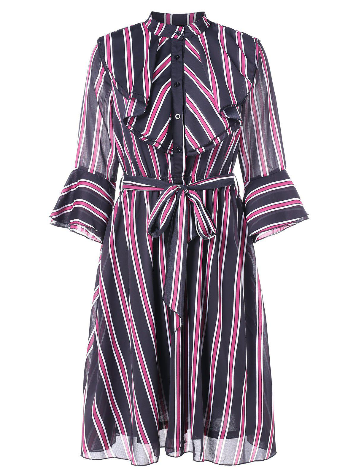 Chic Vertical Stripe Flounce Trim Dress